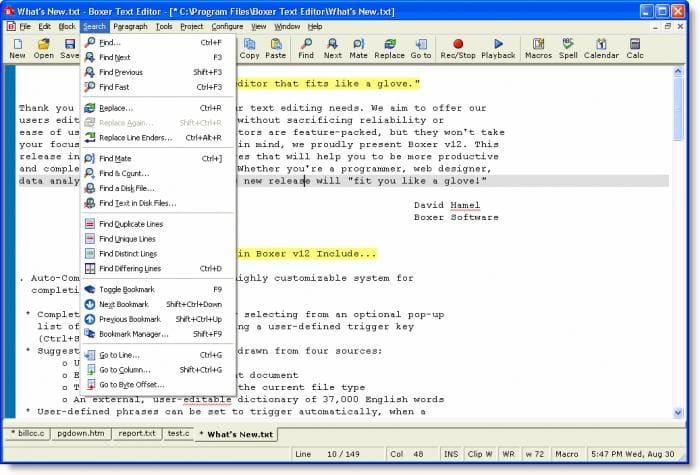Boxer Text Editor