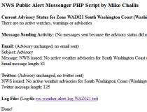 NWS Public Alert Messenger PHP Script