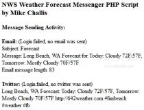 NWS Weather Forecast Messenger PHP Script