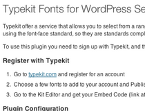 Typekit Fonts for WordPress