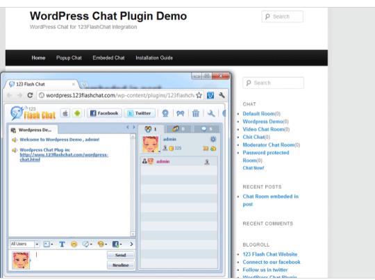 123 Flash Chat Module for Wordpress