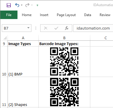 2D Excel Native Barcode Generator