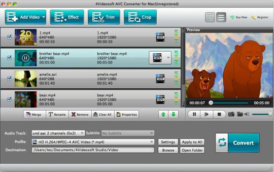 4Videosoft AVC Converter for Mac