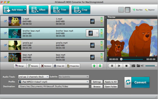 4Videosoft Mod Converter for Mac
