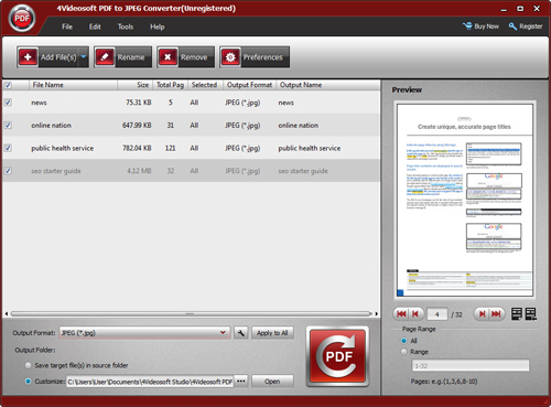 4Videosoft PDF to JPEG Converter