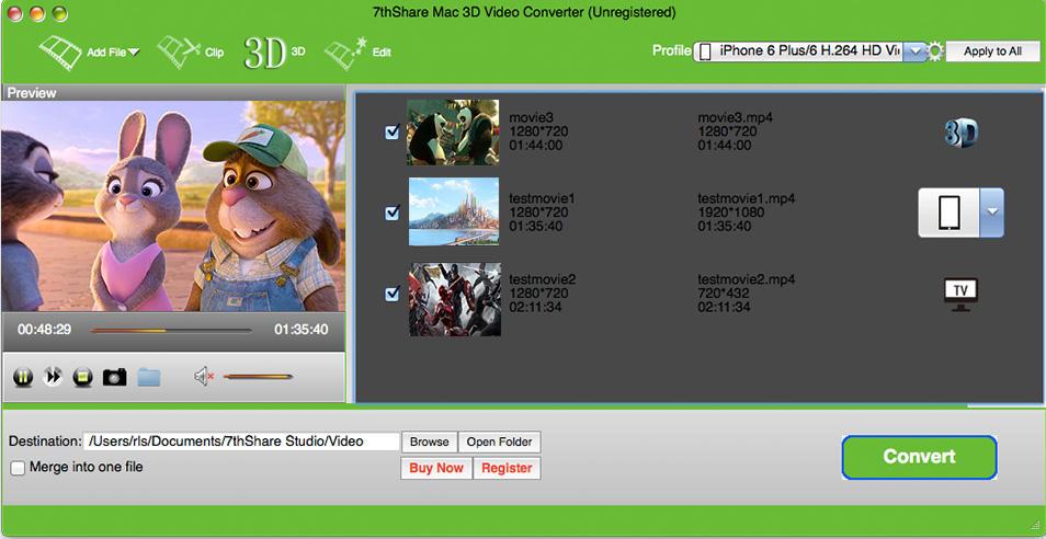 7thShare Mac 3D Video Converter