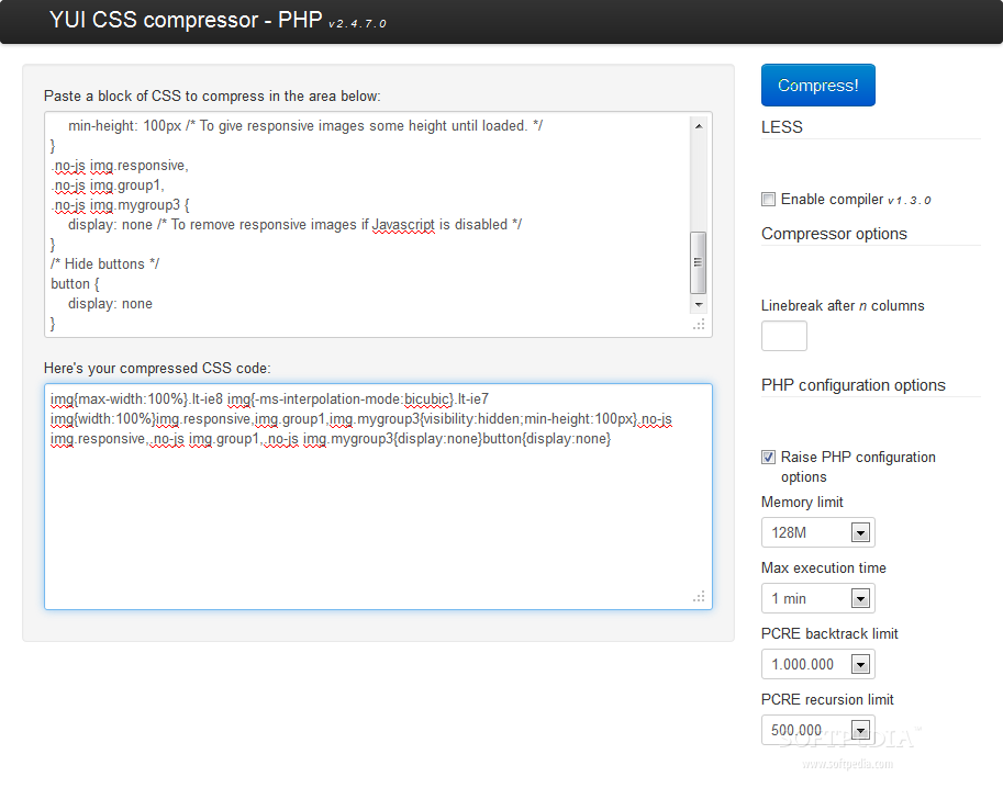 A PHP port of the YUI CSS compressor