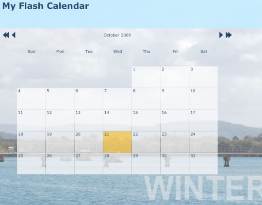 A4Desk Flash Event Calendar