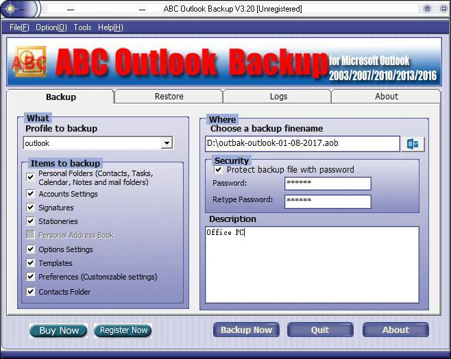 ABC Outlook Backup