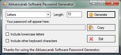Abluescarab Designs Password Generator