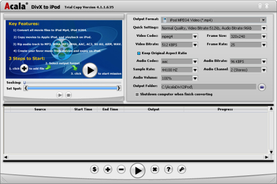 Acala DivX to iPod
