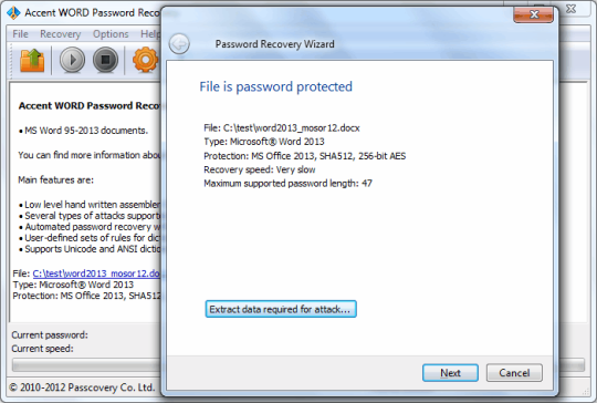 Accent Word Password Recovery