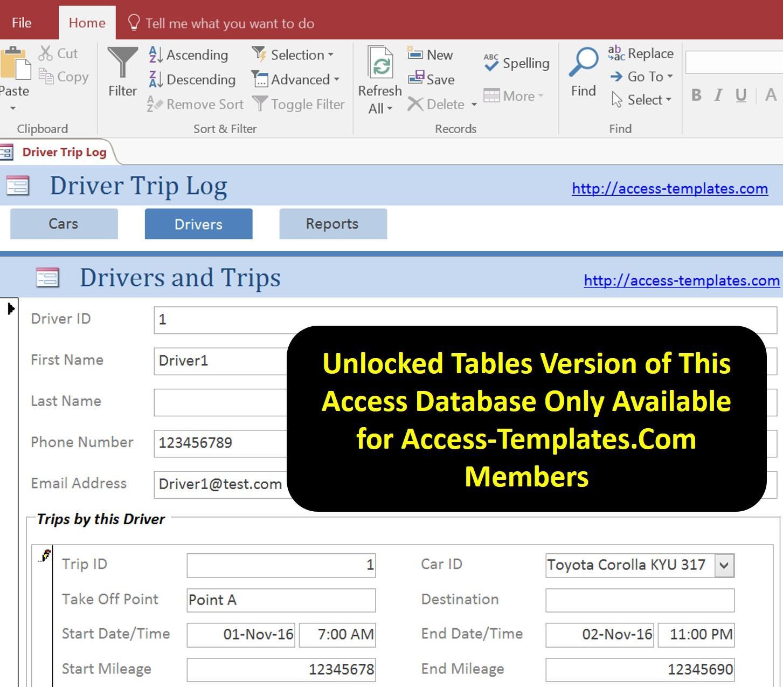 Access Database Driver Trip Car Mileage Log Tracker