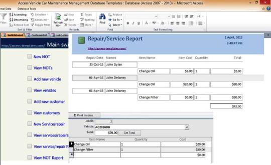 Access Vehicle Services Management Database