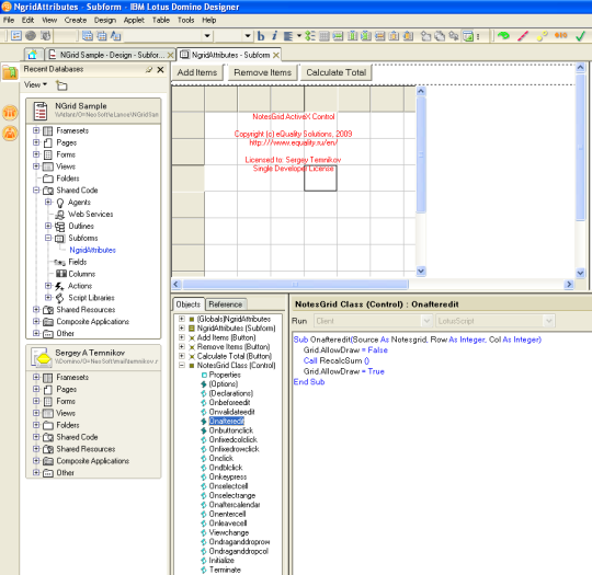 ActiveX Grid Control for Lotus Notes