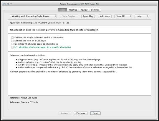 Adobe Dreamweaver CC ACE Exam Aid