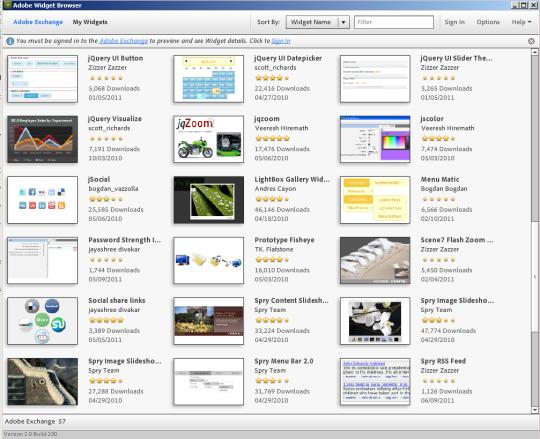 Adobe Dreamweaver Widget Browser