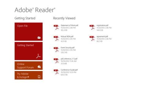 Adobe Reader for Windows 8