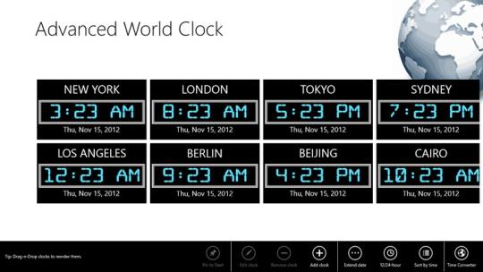 Advanced World Clock for Windows 8