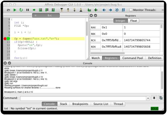 Affinic Debugger GUI (GDB/LLDB)