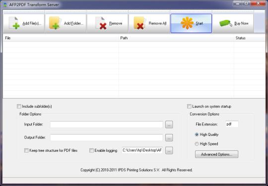 AFP2PDF Transform Server