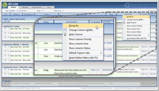AI List (Action Item List) Microsoft Excel Template