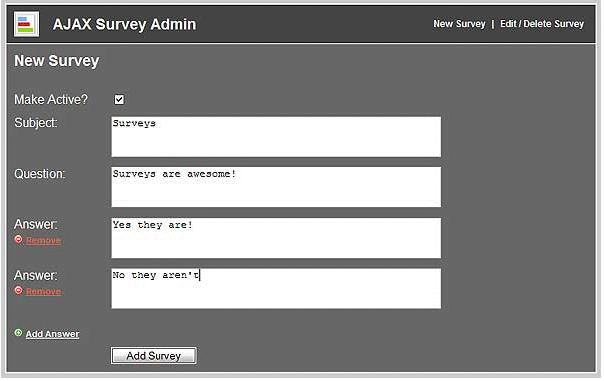 AJAX / PHP / MySQL Website Survey
