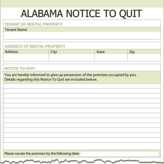 Alabama Notice To Quit