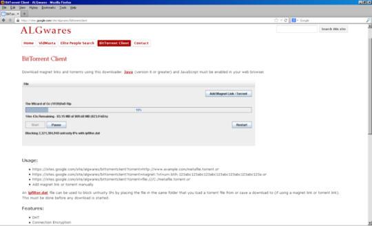 ALGwares BitTorrent Client