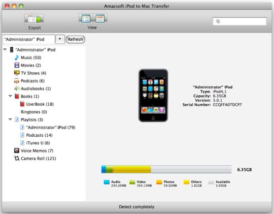 Amacsoft iPod to Mac Transfer