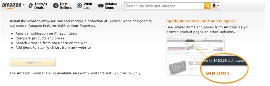 Amazon Browser Bar for Internet Explorer
