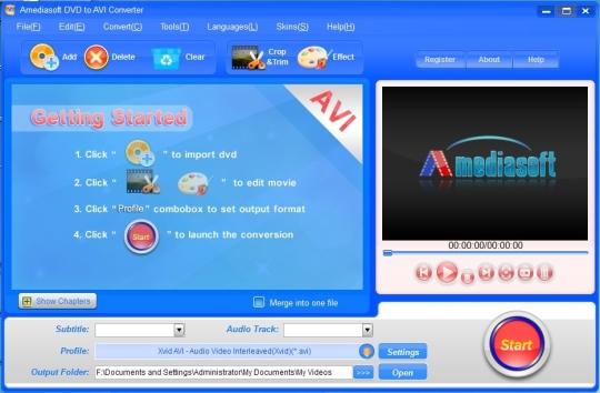 Amediasoft DVD to AVI Converter