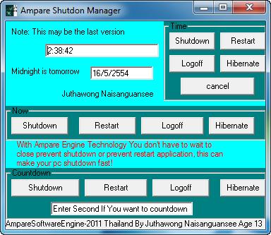 Ampare Shutdown Manager