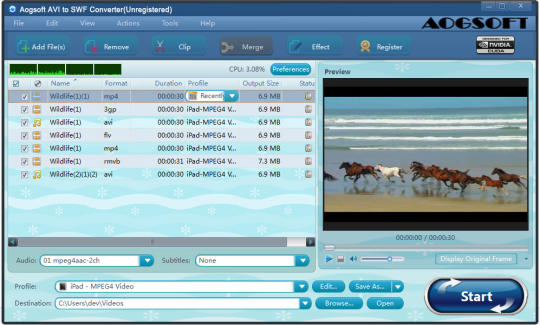 Aogsoft AVI to SWF Converter