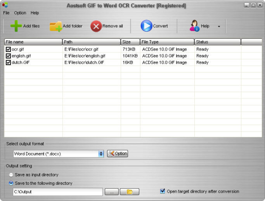 Aostsoft GIF to Word OCR Converter