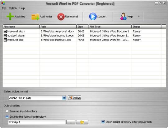 Aostsoft Word to PDF Converter