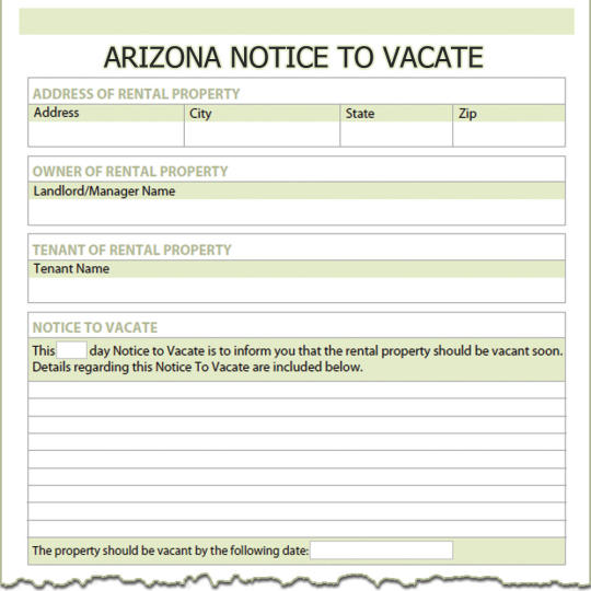 Arizona Notice To Vacate