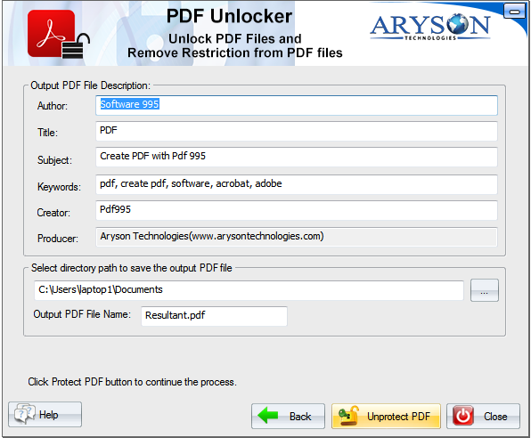 Aryson PDF Unlocker