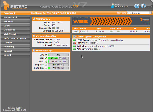 Astaro Web Gateway Virtual Appliance