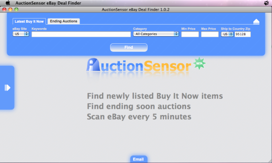 AuctionSensor eBay Deal Search Tool