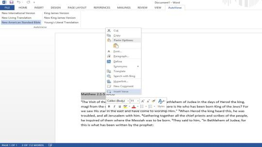 AutoVerse Add-in for Microsoft Word 2010/2013