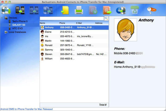 Backuptrans Android Contacts to iPhone Transfer