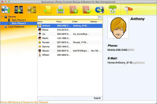 Backuptrans iPhone Contacts Backup & Restore for Mac