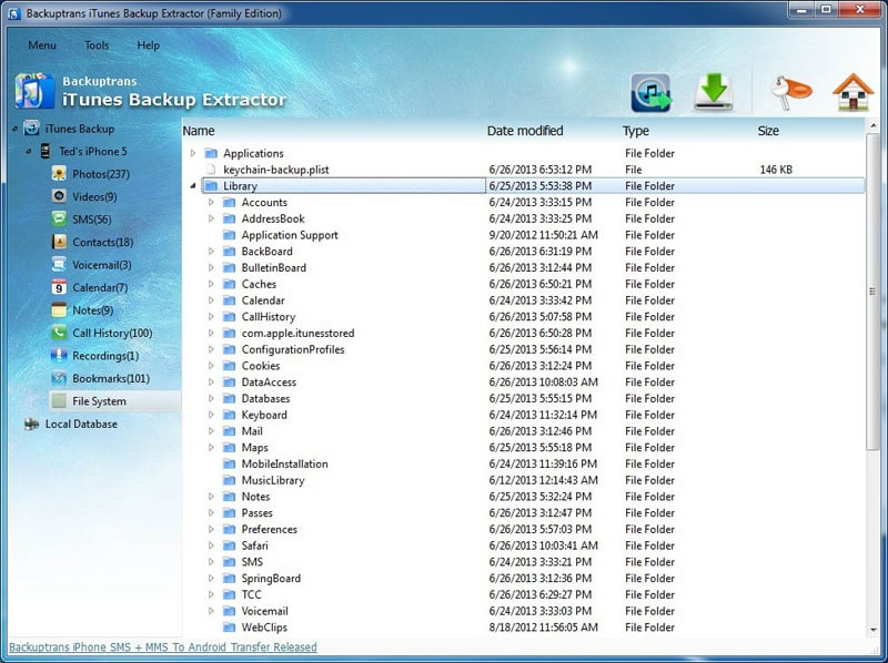 Backuptrans iTunes Backup Extractor