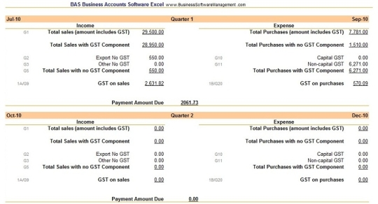 BAS Business Accounts Software Excel