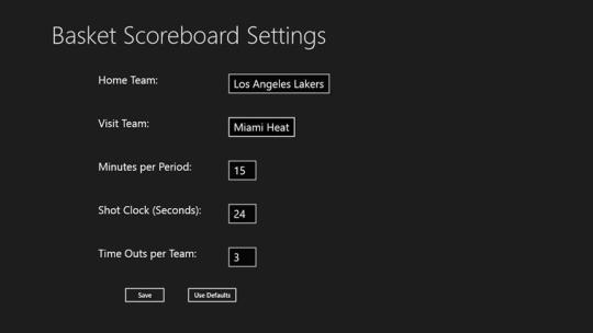Basket Scoreboard for Windows 8