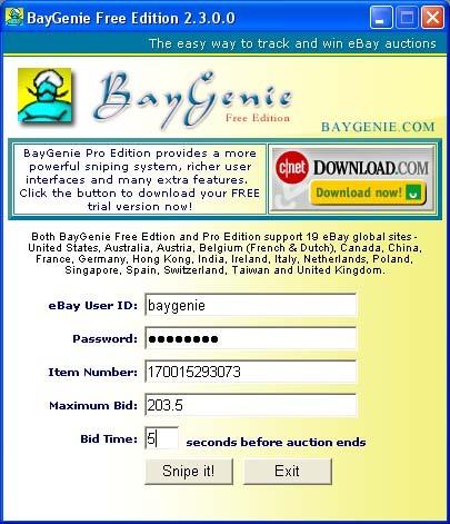 BayGenie eBay Auction Sniper Free