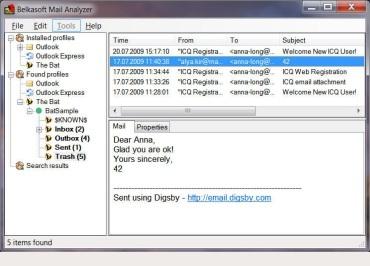 Belkasoft Mail Analyzer