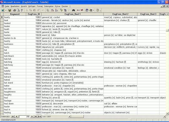 Bilingual English Dictionary Databases