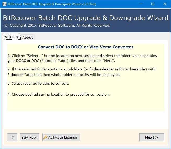 BitRecover Batch DOC Upgrade and Downgrade Wizard